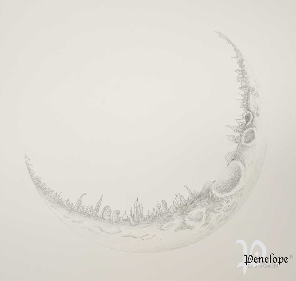 City On The Moon White Penelope Arts